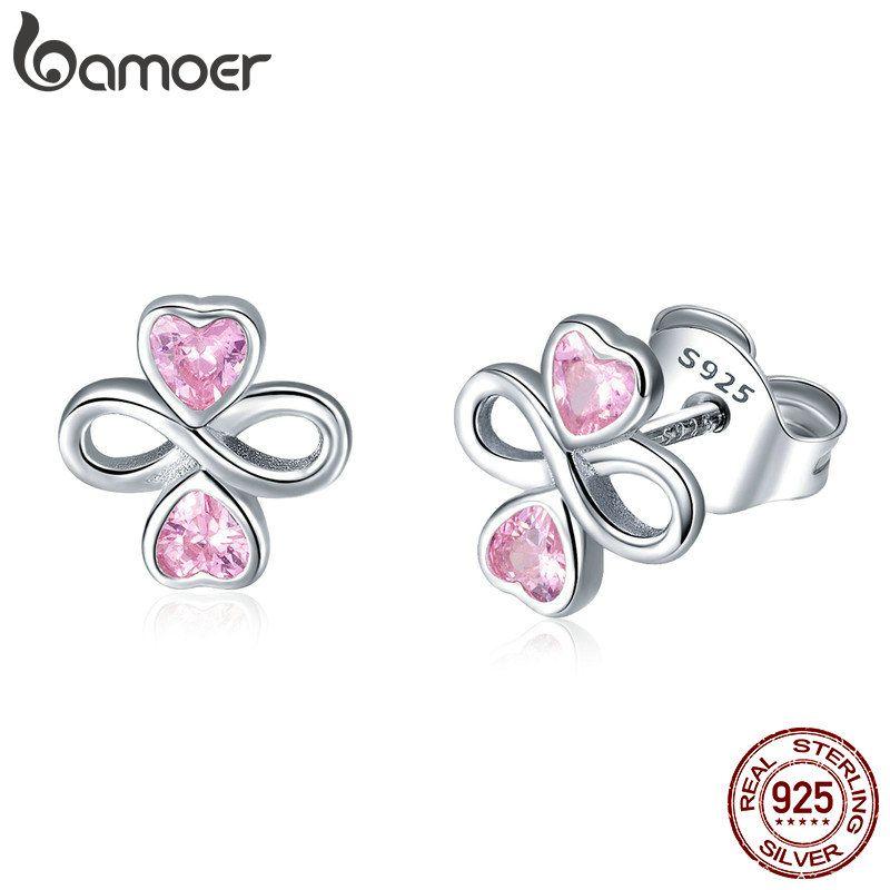 BAMOER Echt 925 Sterling Silber Unendliche Liebe Rosa Herz Kleeblatt Kleine Ohrringe für Frauen Authentische Silber Schmuck SCE455