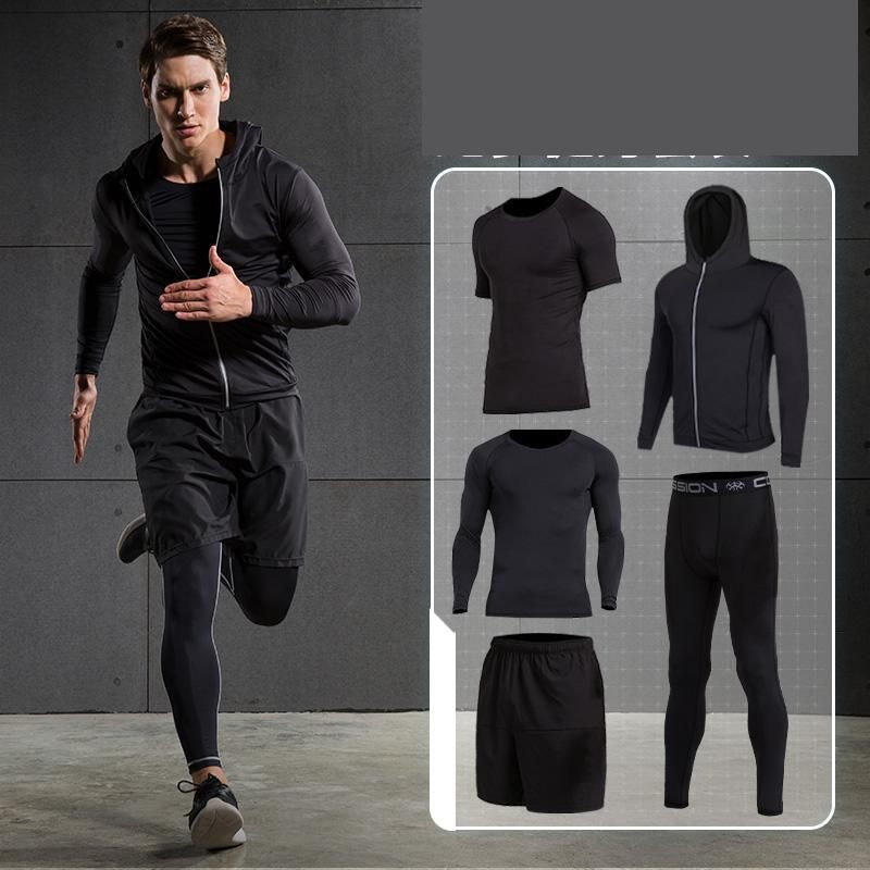 Brand Running Sets Men's Sportswear Tracksuit Male Compression Tights For Fitness Running Basketball Soccer Jersey Gym Clothing