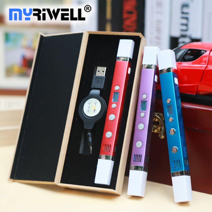 Myriwell 3d stylo 3d stylos, affichage LED, USB De Charge, 3 d stylo 3d modèle Smart 3d impression stylo, Soutien mobile alimentation, Enfant cadeau