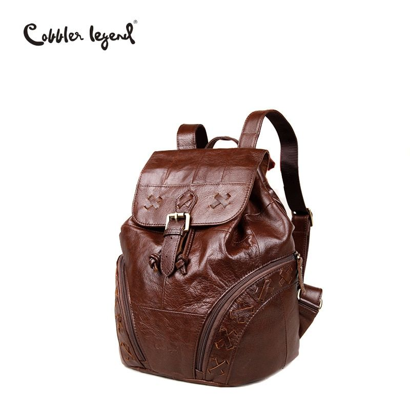 Cobbler Legend 2017 Simple Genuine Leather Backpack Small Women Fashion Drawstring Travel Backpack Bucket Bag Mini X Knitting