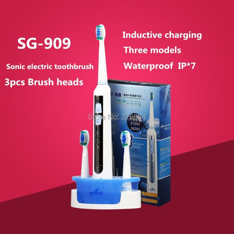 Sonic Electric toothbrush Rechargeable ultrasonic Tooth brush Inductive charging <font><b>Washable</b></font> SG-909 Seago Oral hygiene