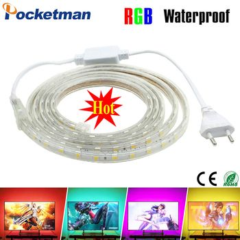 LED Bande Étanche SMD 5050 AC220V 1 M 2 M 3 M 5 M 10 M 15 M 25 M led bande 5050 220 V Lumière Avec L'UE Plug Power De Noël LED bande