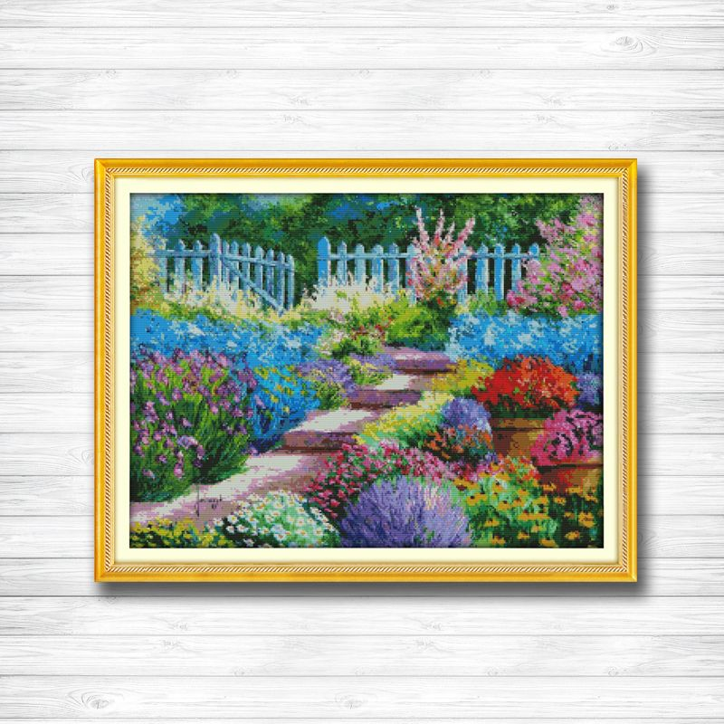 Colorful rural view garden Scenery 14CT 11CT counted cross stitch Needlework Set Embroidery kits chinese cross stitch Home decor