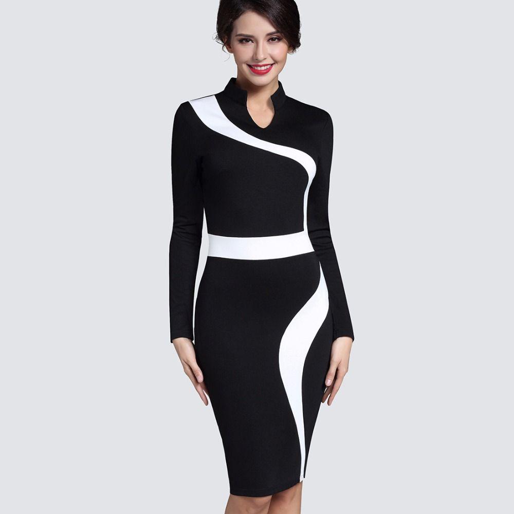 Contraste mode optionnel Illusion affaires Vintage bureau robe Zipper Stand-up col élégant à manches courtes Slim Fit robe B320
