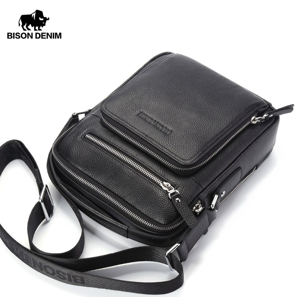 BISON DENIM Genuine Leather Men Bags Ipad Handbags Male Messenger Bag Man Crossbody Shoulder Bag Men's Travel Bags N2333-1