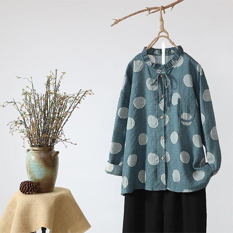 <font><b>Wave</b></font> point ruffled collar long sleeve shirt blouse mori girl 2018 spring