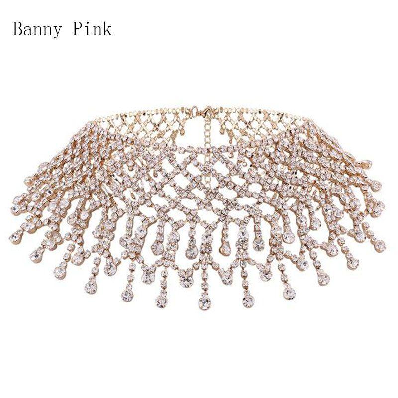 luxury Rhinestone Chain Choker Necklace For Women Elegant Full Crystal Tassel Choker Collar Fashion Bridal Jewelry ColliersColar