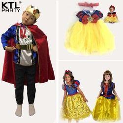 Anak bayi perempuan Putri Salju Putri Gaun Chlidren pangeran cosplay kostum Pakaian Pesta Anak-anak Lucu Busur Pendek boy raja Kostum