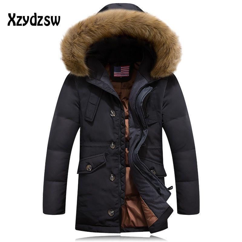 Canada Goode Winter Jacket Men White Duck Down Jacket Male Parka Medium-long Thickening Fur Hood Parkas Outerwear Jacket Coat