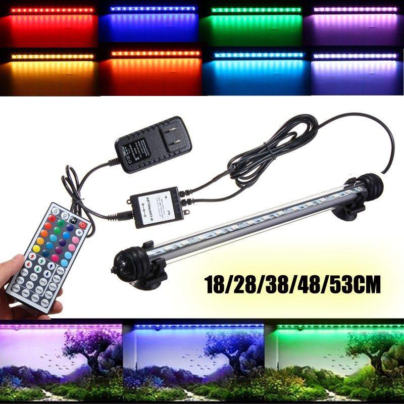 Smuxi погружные RGB LED Fish Tank Воздушный Шторы Light tube 18/28/38/48/53 см крючок свет аквариум Светодиодная лампа с дистанционным AC110-240V