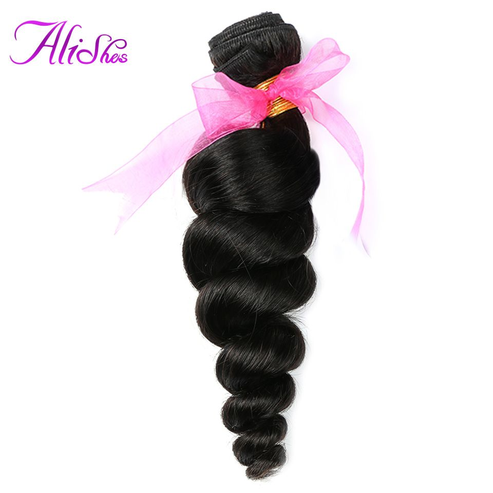 Alishes Hair Brazilian Loose Wave Bundles 8-28 Inch <font><b>Human</b></font> Hair Weave Bundles Natural Color Can Mixed 100g Remy Hair Weaving