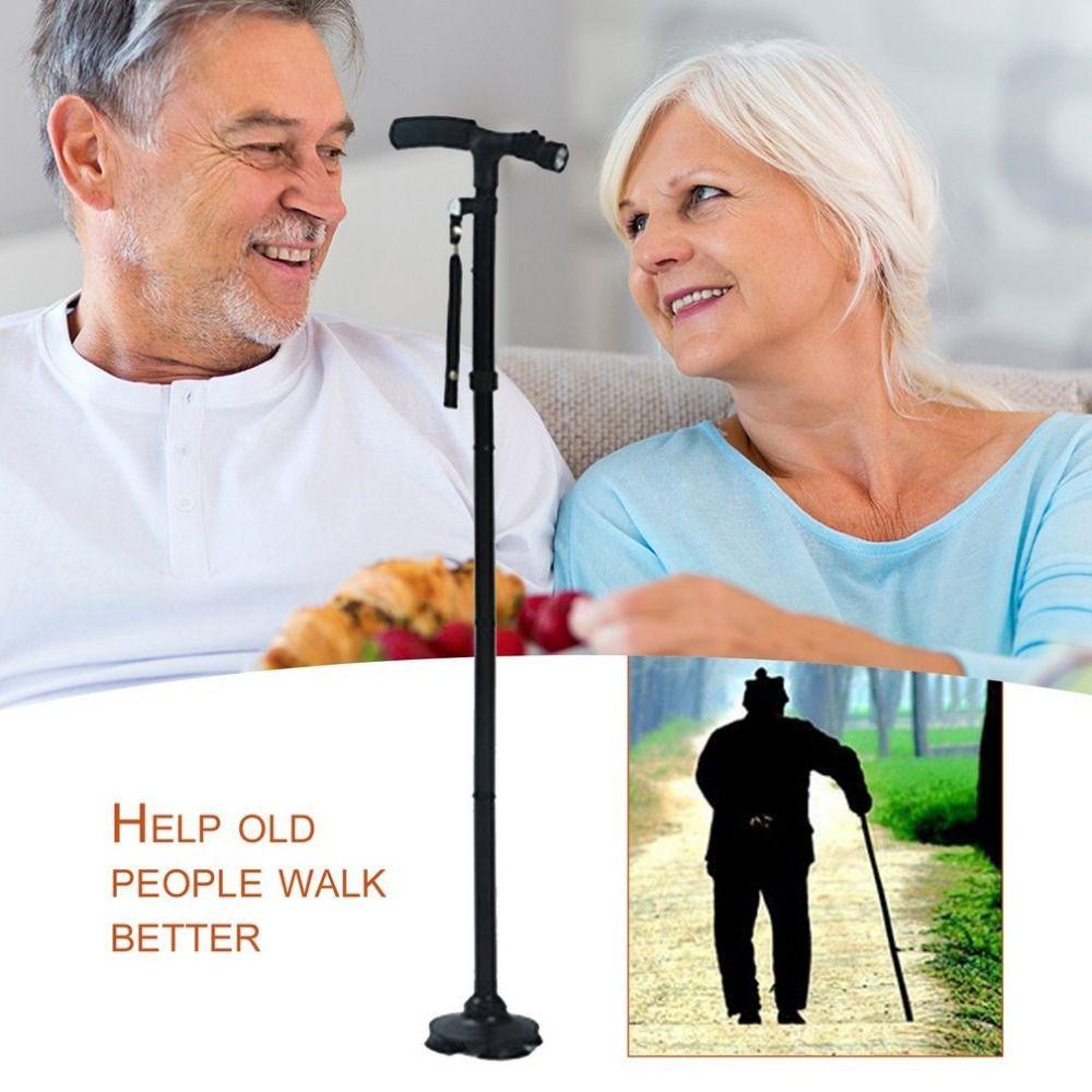 Magic Cane Folding LED Light Safety Walking Stick 4 Head Pivoting Trusty Base For Old Man T <font><b>Handlebar</b></font> Trekking Poles Cane New