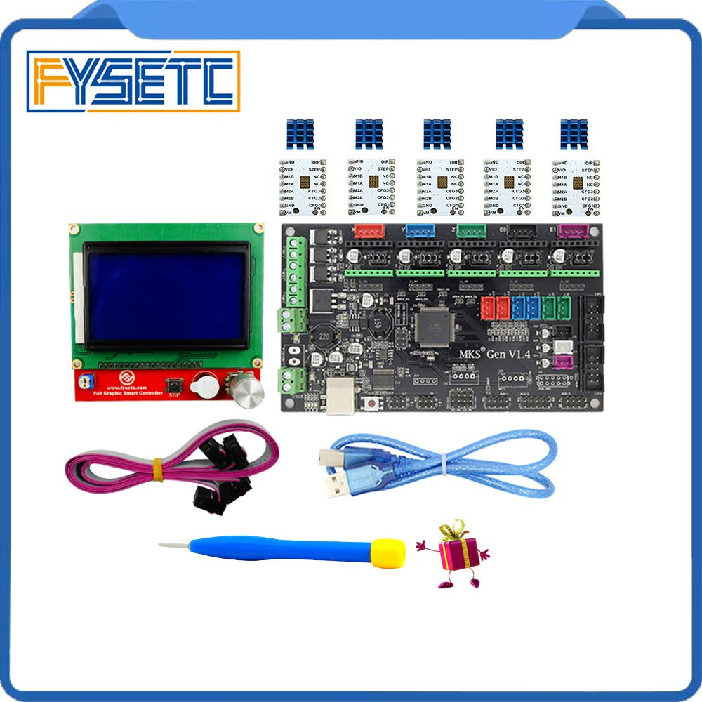 MKS Gen V1.4 3D printer kit with MKS Gen V1.4 board +TMC2100 /TMC2130/TMC2208/DRV8825/A4988+12864 Graphic LCD
