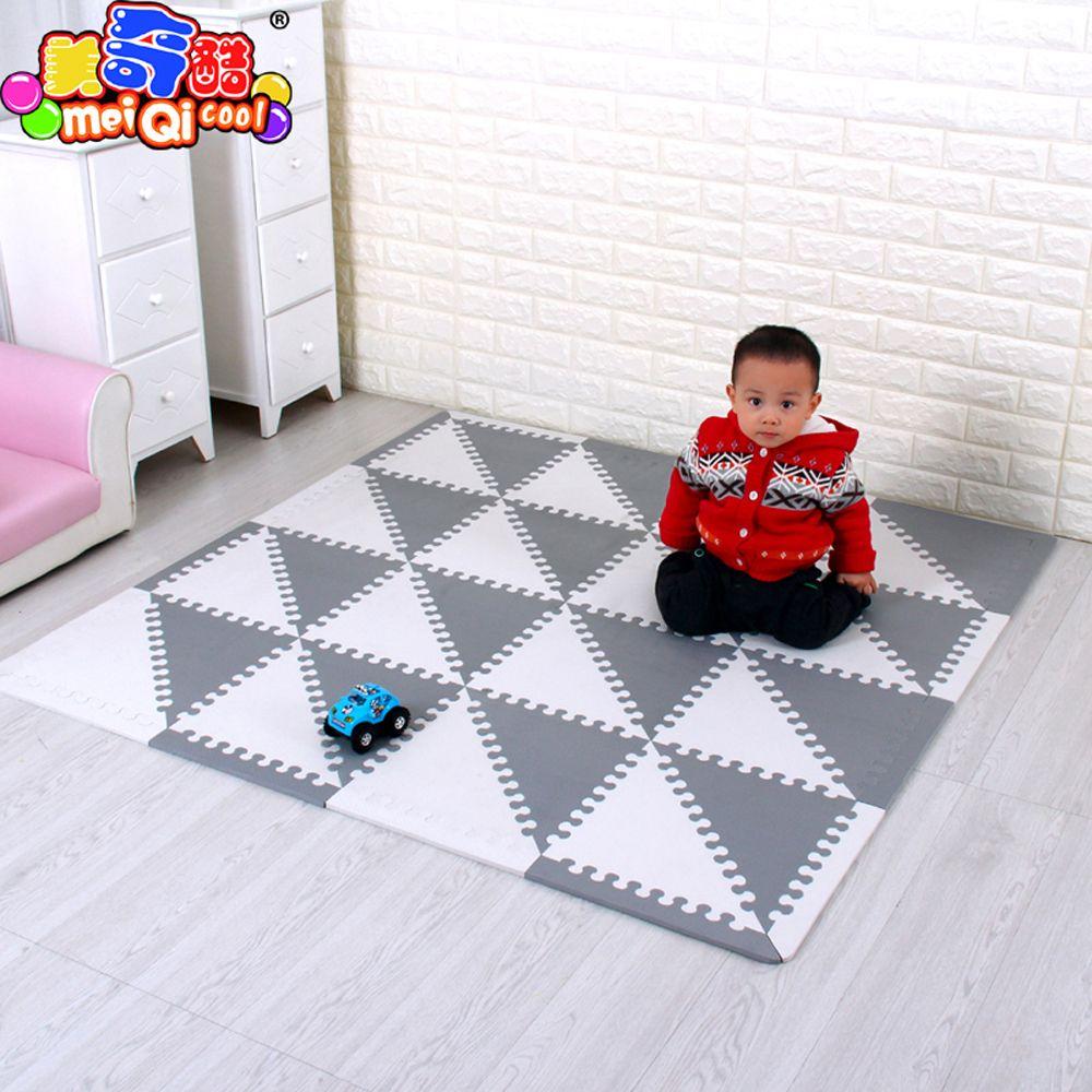 mei qi cool Baby Puzzle EVA Foam Mat Children Crawling Play Mat Kids Game Mats Gym Soft Floor Game Carpet triangle 35CM*1CM GREY