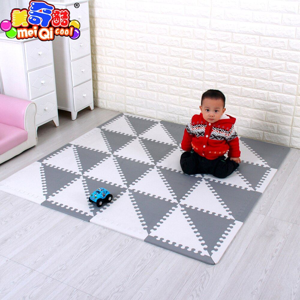 mei qi cool Baby Puzzle EVA Foam Mat Children Crawling Play Mat Kids Game Mats Gym Soft Floor Game Carpet triangle 35CM*1CM GREY