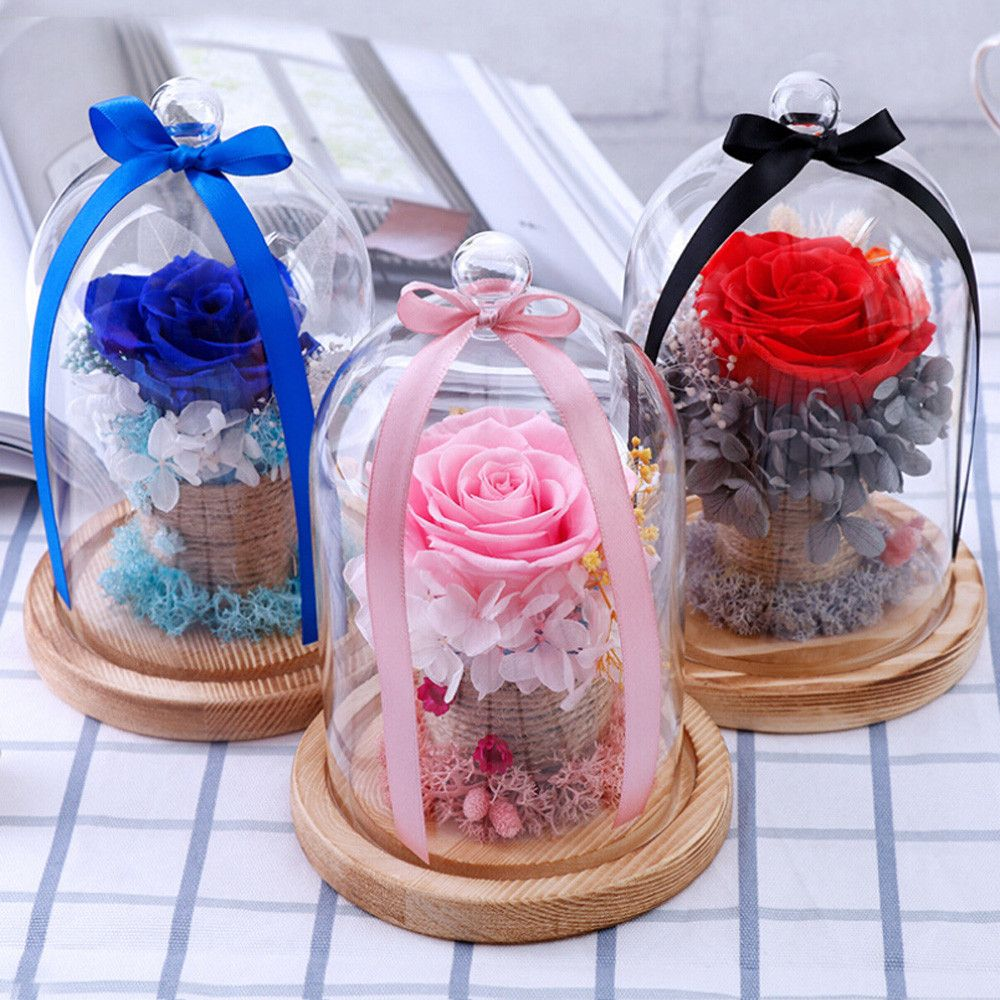 Dried Eternal roses flowers Endless Preserved Roses Flower In Glass Valentine's Day <font><b>Birthday</b></font> Gift Wedding Party Decor 2018