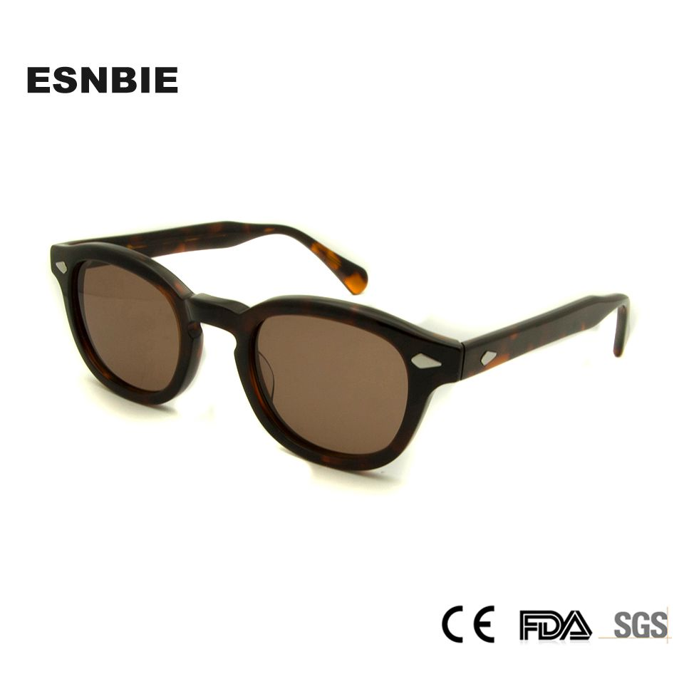 Esnbie Высокое качество Ретро заклепки Солнцезащитные очки для женщин мужской Круглый Оттенки Для мужчин 44 мм небольшие декоративные Очки Для...