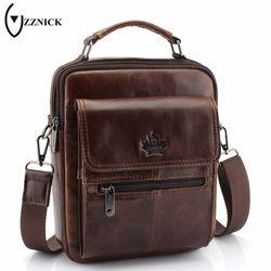 ZZNICK 2018 New Genuine Leather Bag Men Crossbody Bags Fashion Men's Messenger leather Shoulder Bags Handbags Travel Male Bag