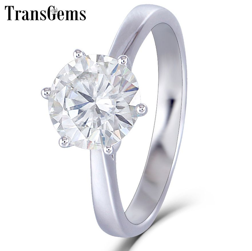 Transgems 14K 585 White Gold Moissanite Diamond Engagement Ring for Women Fine Jewelry Center 2ct F Color Moissanite Ring