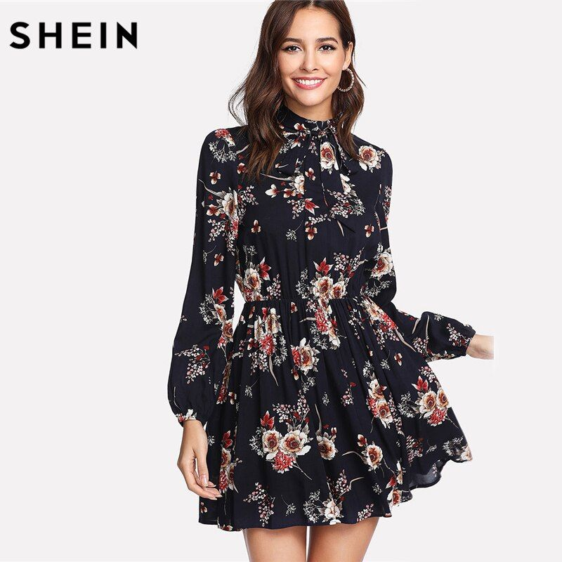 SHEIN Autumn Floral Women Dresses Multicolor Elegant Long Sleeve High Waist A <font><b>Line</b></font> Chic Dress Ladies Tie Neck Dress