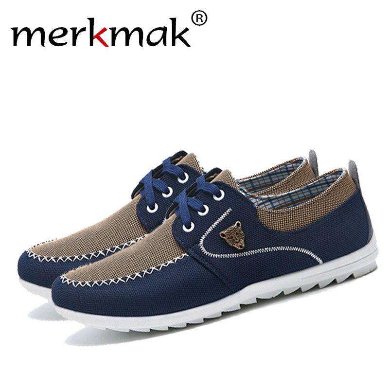 Merkmak Summer Men Shoes Trend Canvas Shoes Male Casual Shoes Men's Low Board Outwear Flats Breathable Driving Shoes Big Size 48