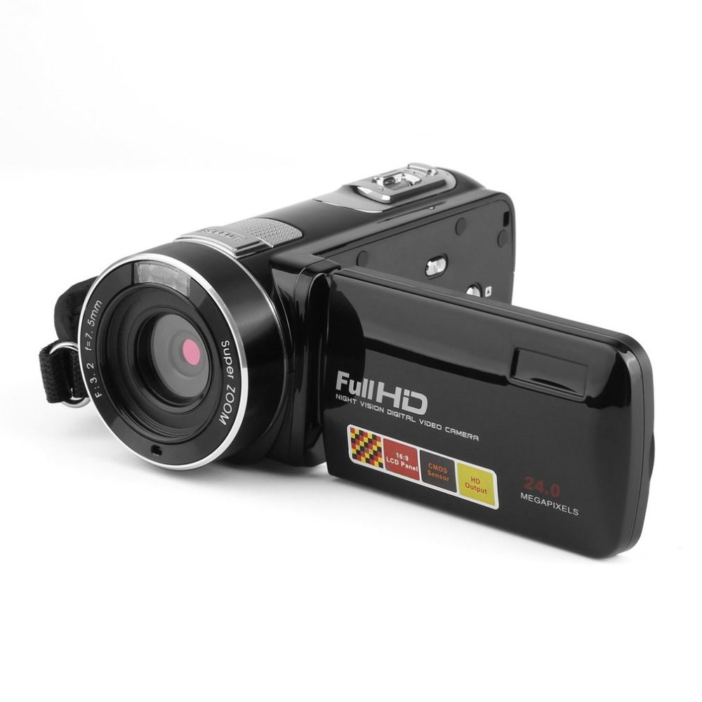 Portable Digital Video Camera Night Vision Camcorder Full HD 1080P 3.0 Inch 24 MP LCD Touch Screen 18x Zoom Mini Camcorder DV