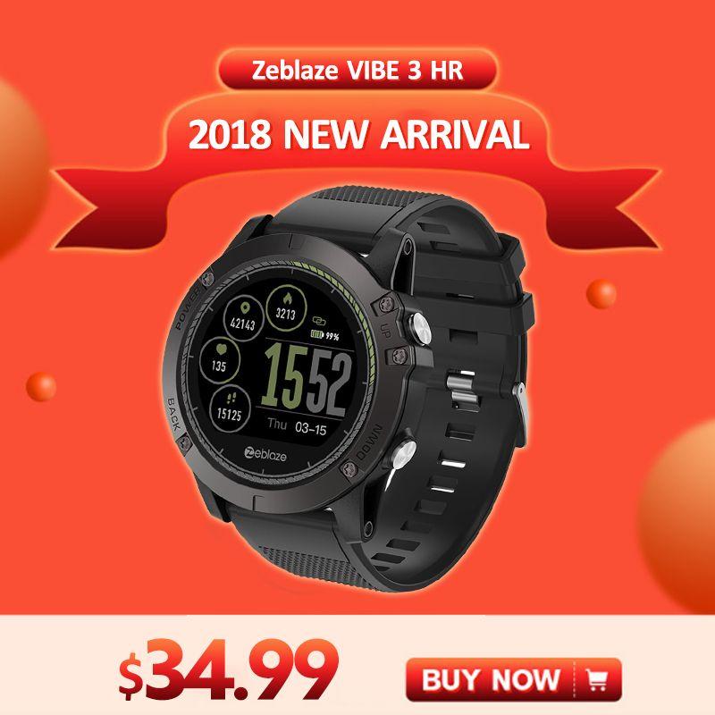 [In Stock] 2018 Zeblaze VIBE 3 HR Smartwatch Durability Waterproof Smart Watch Men Wearable Excellent Battery Heart Rate Monitor