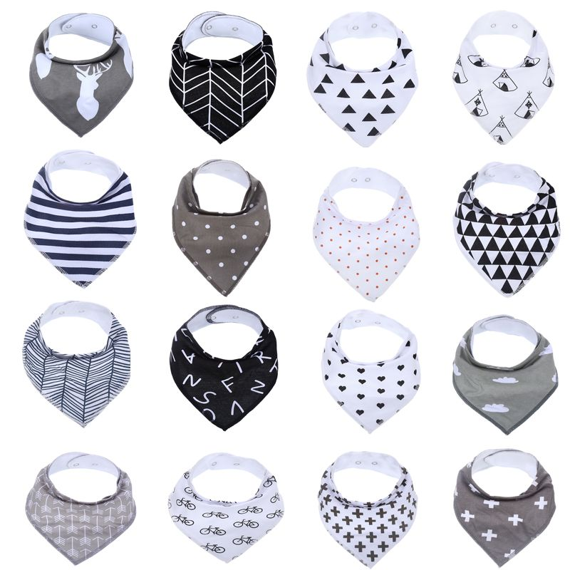 EGMAOBABY 16 Pcs /Set Unisex Baby Bandana Drool Bibs, 100% Cotton Drool Bibs , Super Stylish Waterproof and Anti Dirty Absorb