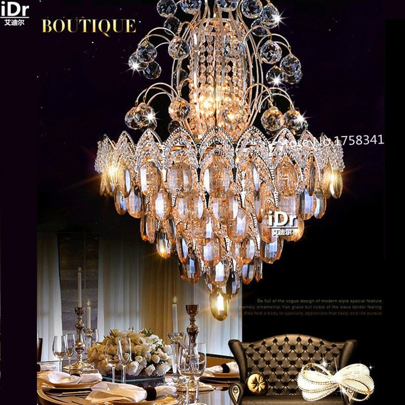 New Luxury living room atmosphere gold chandelier crystal lights bedroom led lamps roundr Bedroom lamp Hall