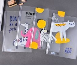 Kawaii animal cat elephants Transparent PVC A4 File Folder Document Filing Bag Stationery Bag Pole folder