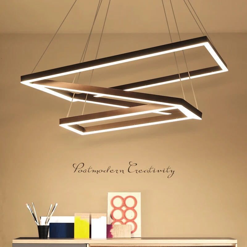 Modern Industrial Black LED Pendant Light Rectangular Circular Lamp Living Room Office Square Ring Big Suspension Hanglamp