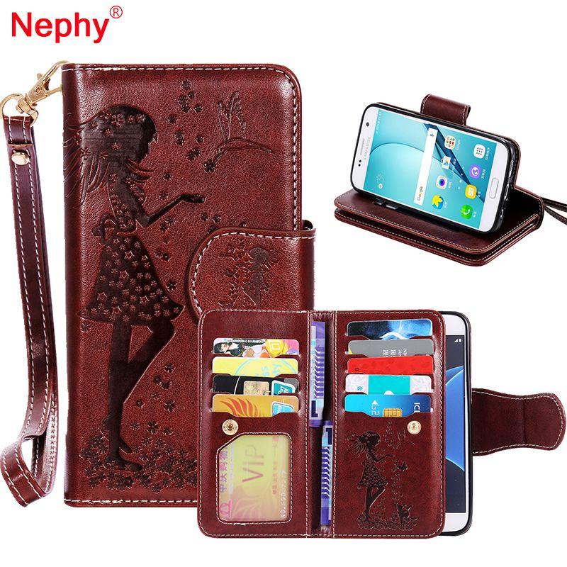 Nephy Portefeuille Étui En Cuir Pour Samsung Galaxy S8 Plus S6 S7 Bord S3 S4 S5 A3 A5 J3 J5 j7 2016 2017 Couverture Maquillage Miroir Capa