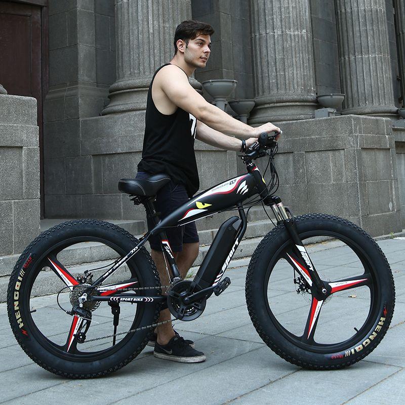 26 Elektrische schnee mountainbike 4,0 reifen fit schnee reifen leistungsstarke high speed motor drive Off-road lithium-batterie strand ebike ATV