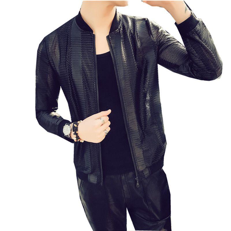 2018 Summer Sociology Spirit Guy Sunscreen Stripe Nightclub Stage Dress Male Thin Section Jacket Loose Coat free shipping