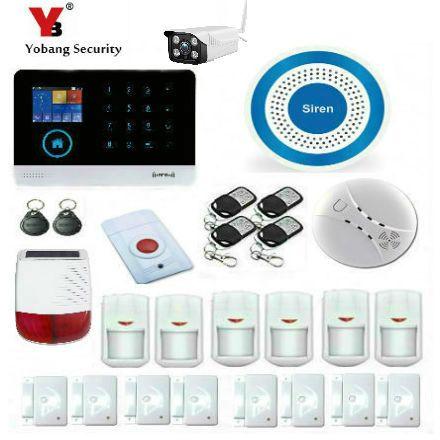 YobangSecurity WiFi 3G SMS GPRS Autodial Intruder Burglar Alarm System Outdoor Solar Power Siren IP Camera Fire Smoke Detector