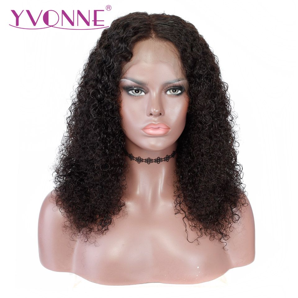YVONNE 360 Lace Frontal Wig Pre Plucked With Baby Hair 180% Density Virgin Malaysian Curly Wigs For Black Women Natural Color