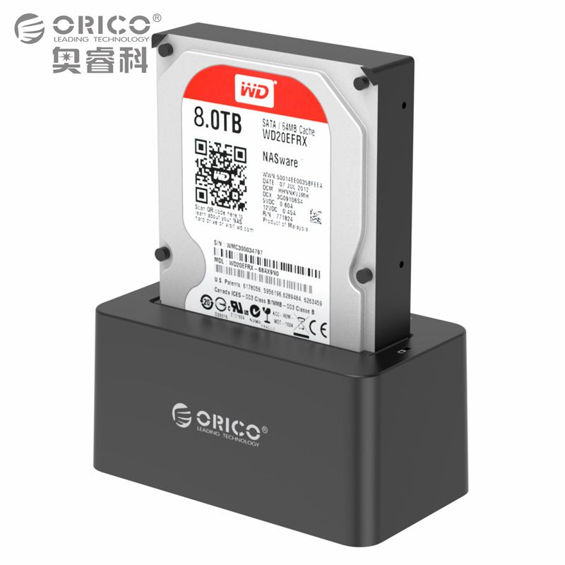 2.5/3.5 Inch USB3.0 to SATA Hard Drive Docking Station,Tool Free Design with 12V2A Power Adapter Support 8TB MAX (ORICO 6619US3)