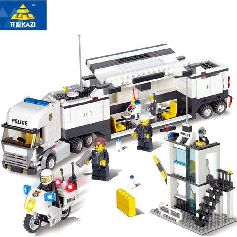 KAZI Building Blocks Police Station Model Building Blocks Compatible Legoe <font><b>City</b></font> Blocks DIY Bricks Educational Toys For Children