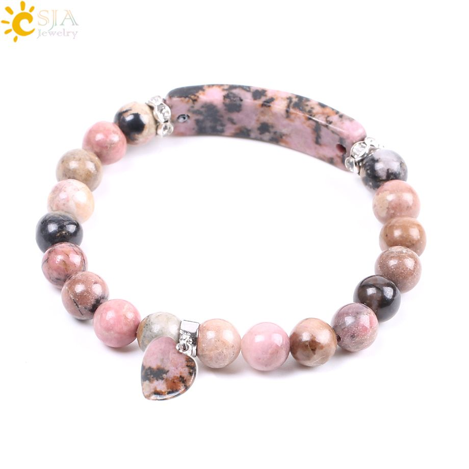 CSJA Natural Gem Stone Bangles Line Rhodonite Love Heart Fitting Healing Beads Bracelets Rectangle Stones for Women Jewelry F104