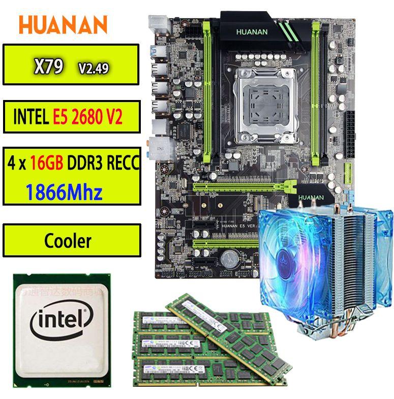 HUANAN goldene V2.49 X79 MOTHERBOARD-FREIES LGA2011 ATX CPU E5 2680 v2 SR1A6 4x16G 64 GB 1866 Mhz mit kühler USB3.0 PCI-E M2 SSD