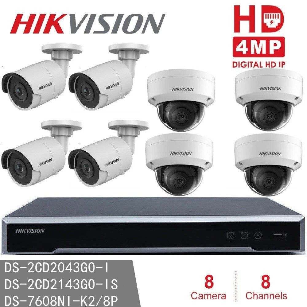 Hikvision CCTV System NVR DS-7608NI-K2/8P 8POE + 4pcs DS-2CD2143G0-IS for Indoor + 4pcs DS-2CD2043G0-I for Outdoor 4MP IP Camera