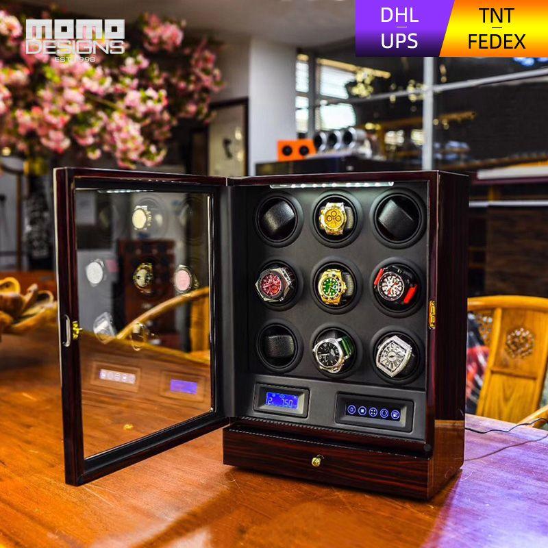 High-end-Uhr wickler 9 Automatische uhren box Multi-funktion LCD touch TPD modus Holz uhr lagerung box für Geburtstag geschenk