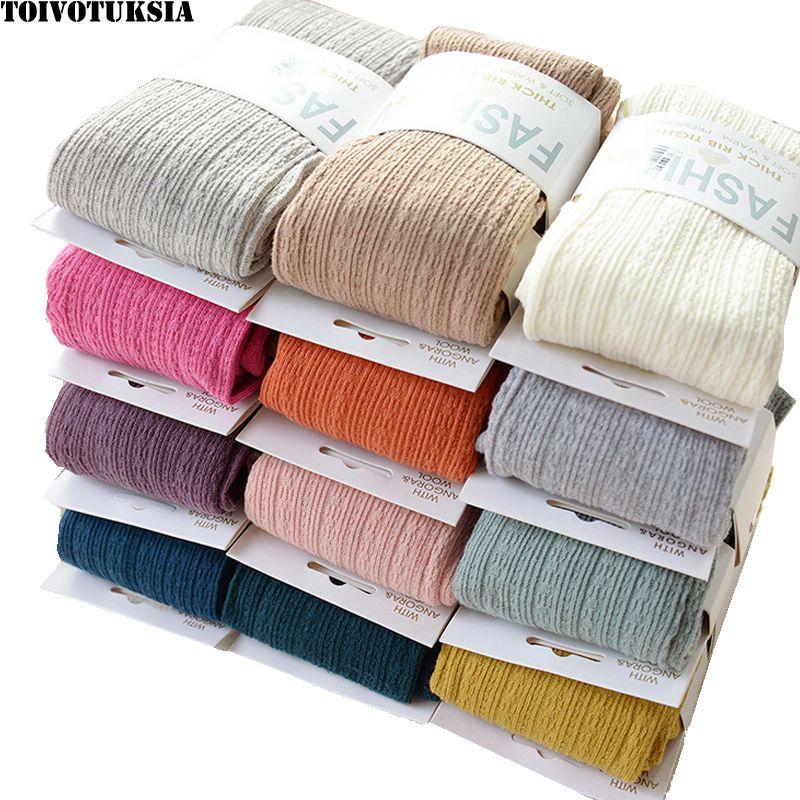 TOIVOTUKSIA Chaud Collants D'hiver Plein Coton Vertical Motif Bonbons Couleurs Thermique Robe Collants pour Hiver Printemps