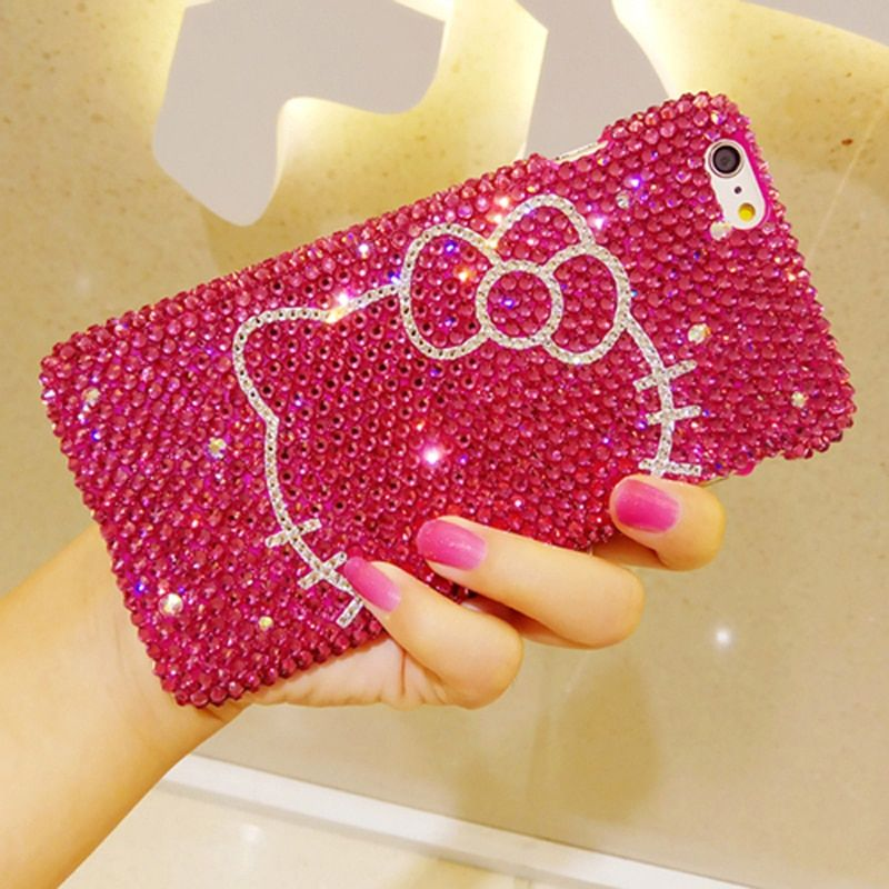 Full Rhinestone Diamond Fitted phone case for iPhone X 8 8 7 6 6s plus Cute Cat Hello kitty Phone Cover Hot Pink Black Rose Red