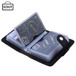 Moda pu cuero función 24 bits tarjeta de visita titular de la tarjeta de crédito del pasaporte del bolso ID pasaporte tarjeta carpeta
