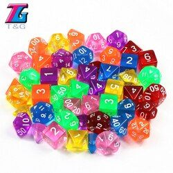Dungeons & Dragons 7Pcs/Set  T&g Polyhedral  RPG Games Dice with Marble Effect Transparent D4-D20 Pop for Board Game