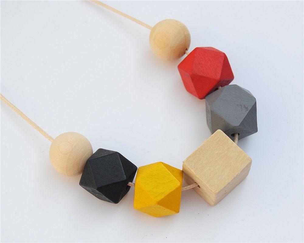 1 unid Cuadrado Cadena De Cera Color de La Mezcla Ronda Collar de Madera Pintado A Mano Chunky Beads Jewellry