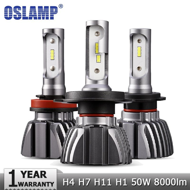 Oslamp H4 Hi lo Beam H7 H11 H1 Car LED Headlight Bulbs 50W 6500K 8000lm Auto Led Headlamp Fog Light CSP Chips Headlights 12v 24v
