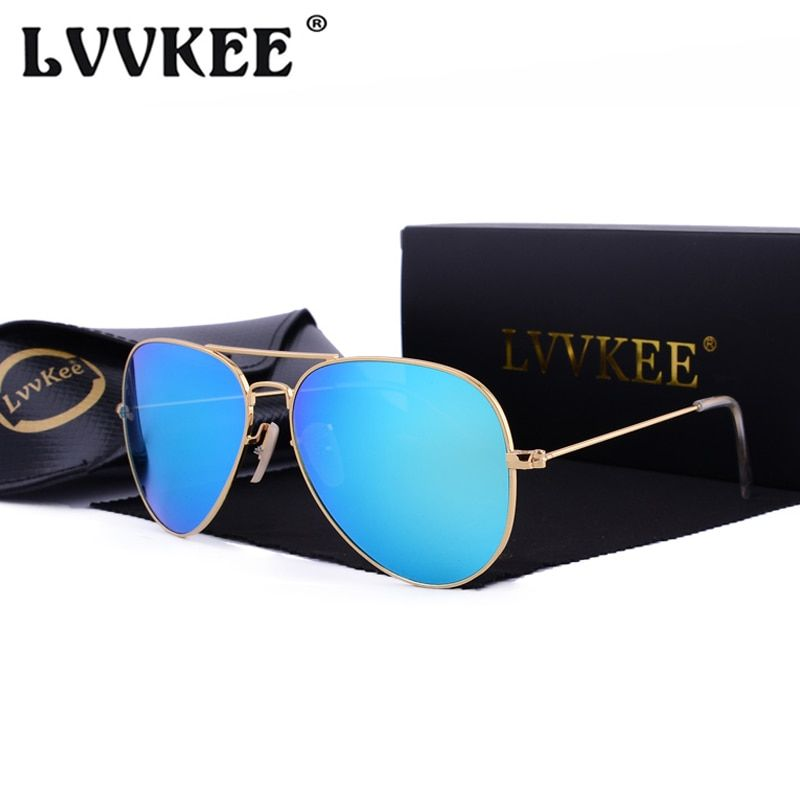 Hot LVVKEE 2018 classique miroir lunettes de soleil hommes/femmes coloré réfléchissant 58mm verre trempé lentille accessoires lunettes de soleil