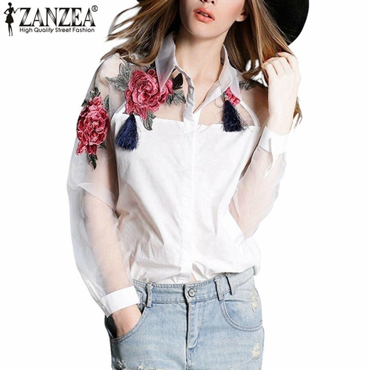 Лидер продаж 2017 ZANZEA модные женские туфли элегантный цветок Вышивка органза blusas feminina Повседневное сетки блузка Топы корректирующие плюс Раз...